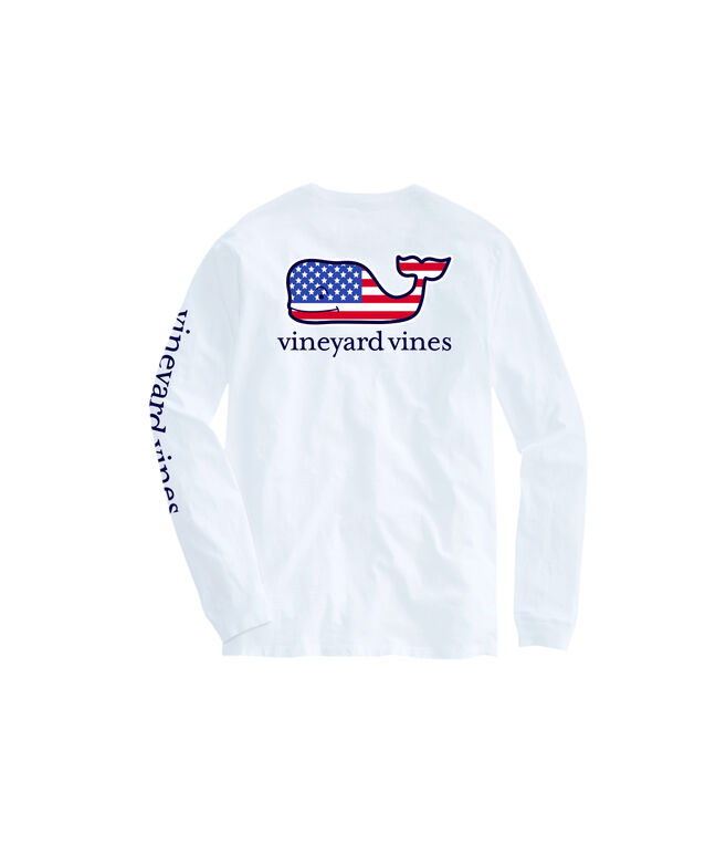 OUTLET Kids' American Flag Whale Long-Sleeve Pocket Tee
