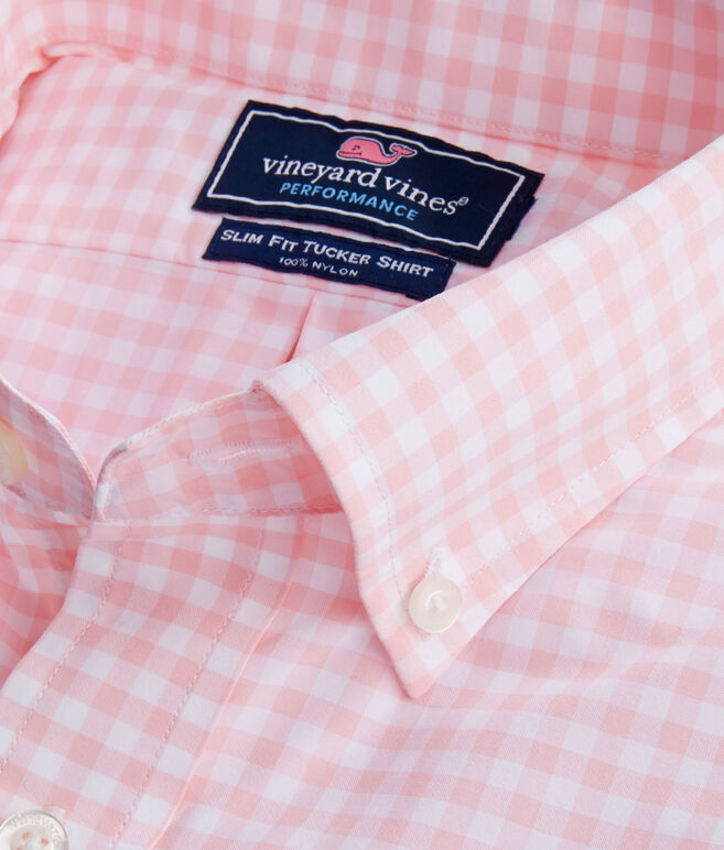 Walkaround Gingham Performance Slim Tucker Shirt