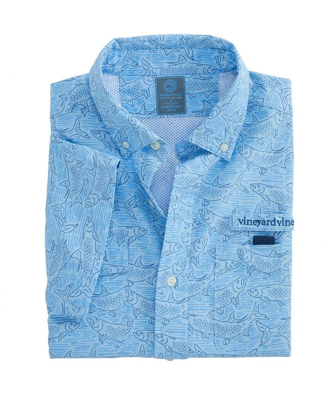Tarpon Sketch Short-Sleeve Harbor Shirt