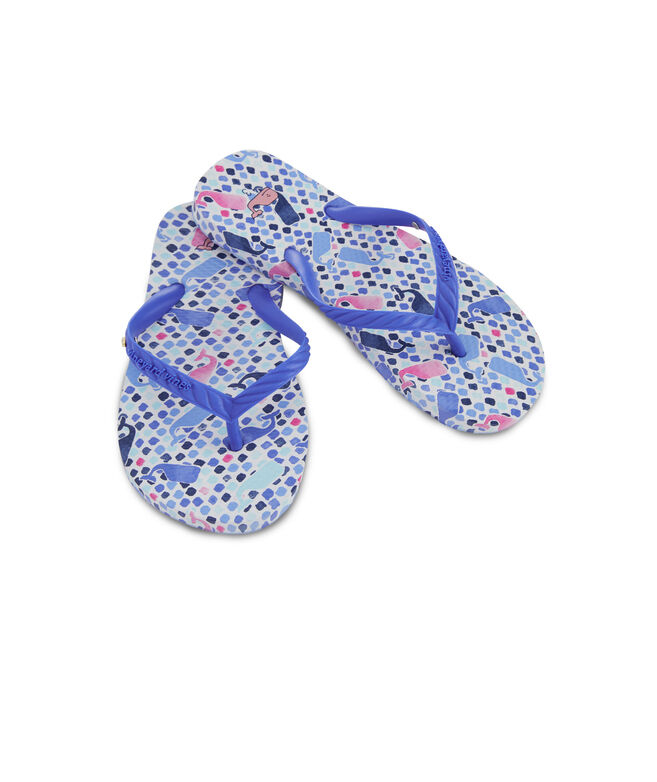 Girls Tiny Diamond Whales Printed Flip Flops