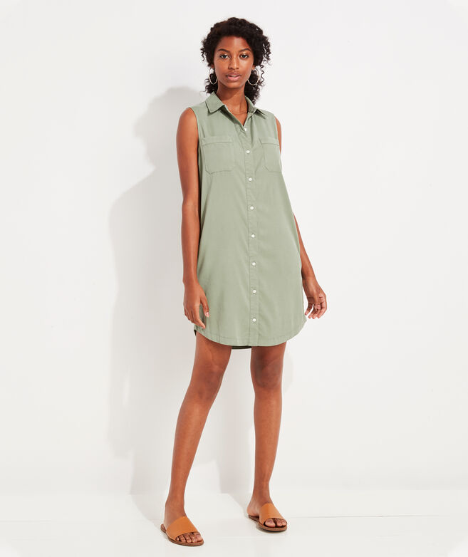 Garment-Dyed Sleeveless Margo Shirt Dress