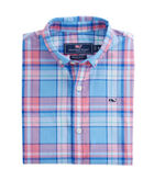 Boys Short-Sleeve Bluff House Plaid Whale Shirt