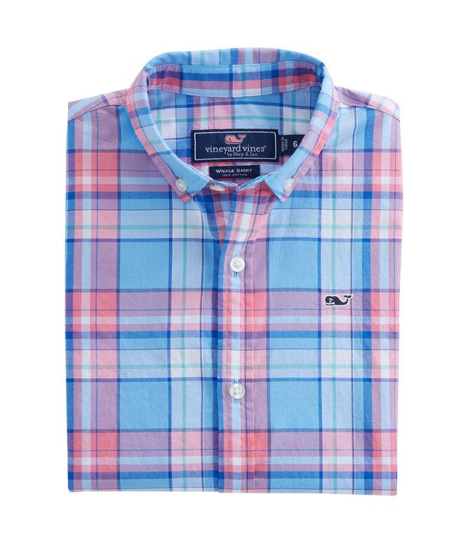 Boys Short-Sleeve Bluff House Plaid Whale Shirt