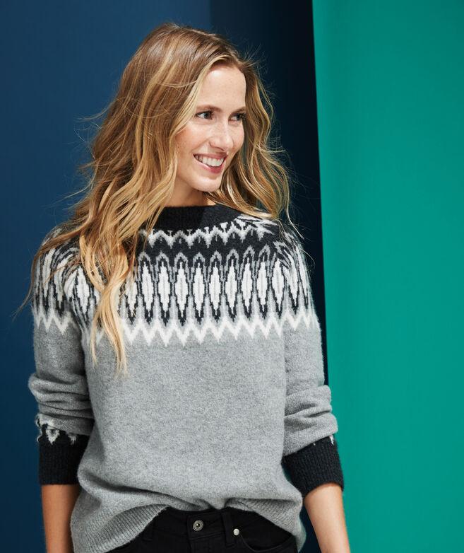Luxe Tonal Fair Isle Crew Sweater