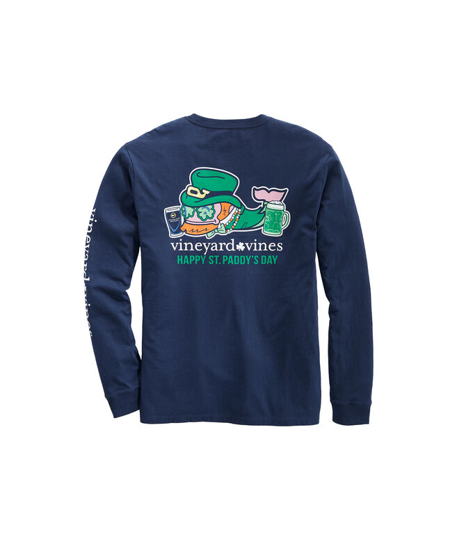 Big & Tall St. Paddy's Day Whale Long-Sleeve Pocket Tee