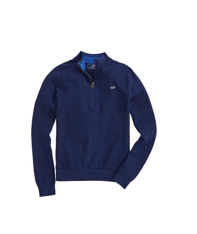 Boys Classic Zip Mock Neck Sweater