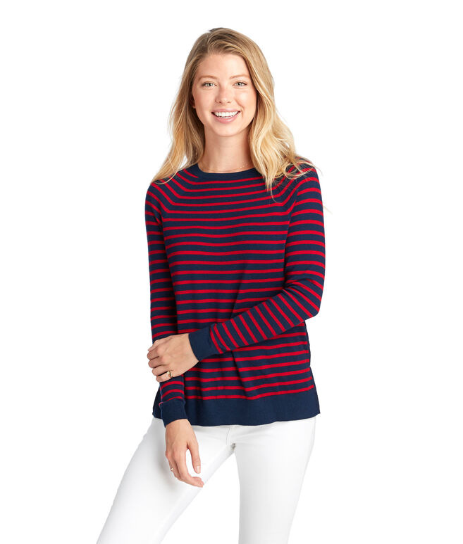 Striped Zip Back Crewneck Sweater