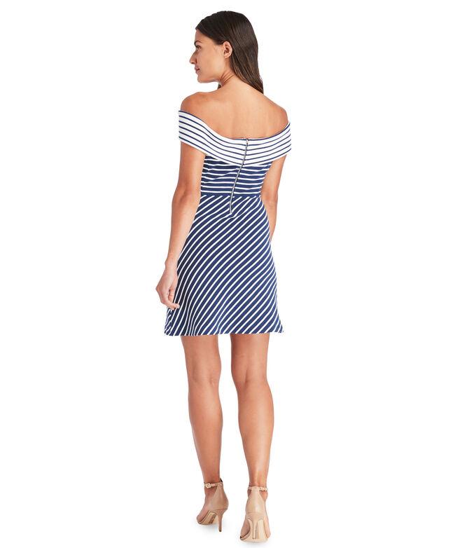 Off The Shoulder Mixed Stripe Dress