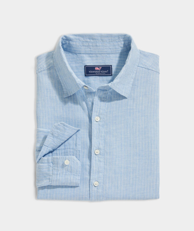 Linen Spread-Collar Striped Shirt