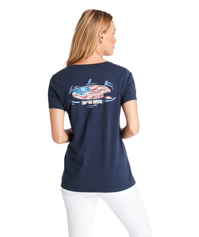 Circling Sharks USA Surfboard Pocket Tee