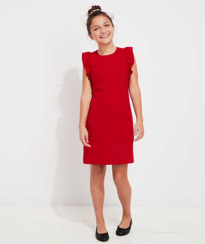 Girls' Ponte Flutter Sleeve Dress