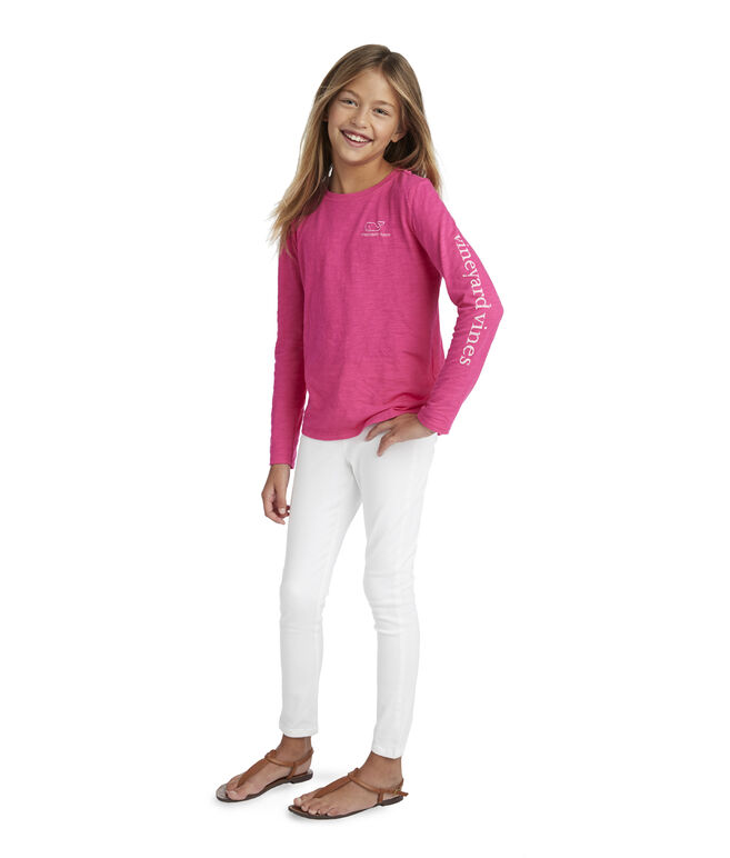 Girls Long-Sleeve Slub Whale Tee
