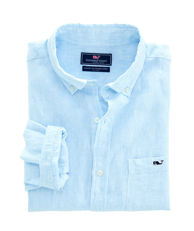 Linen Stripe Classic Tucker Shirt