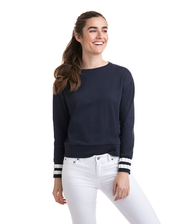 Long-Sleeve Placed Stripe Crewneck