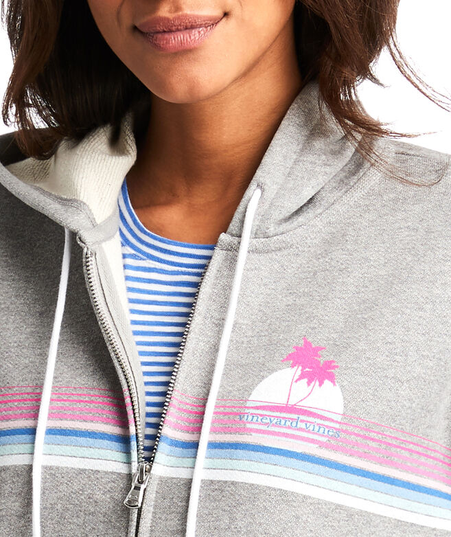 Heathered Graphic Full-Zip Hoodie
