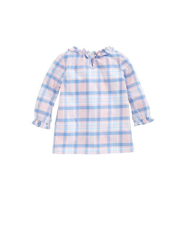 Baby Girl Sea Salt Plaid Flannel Dress