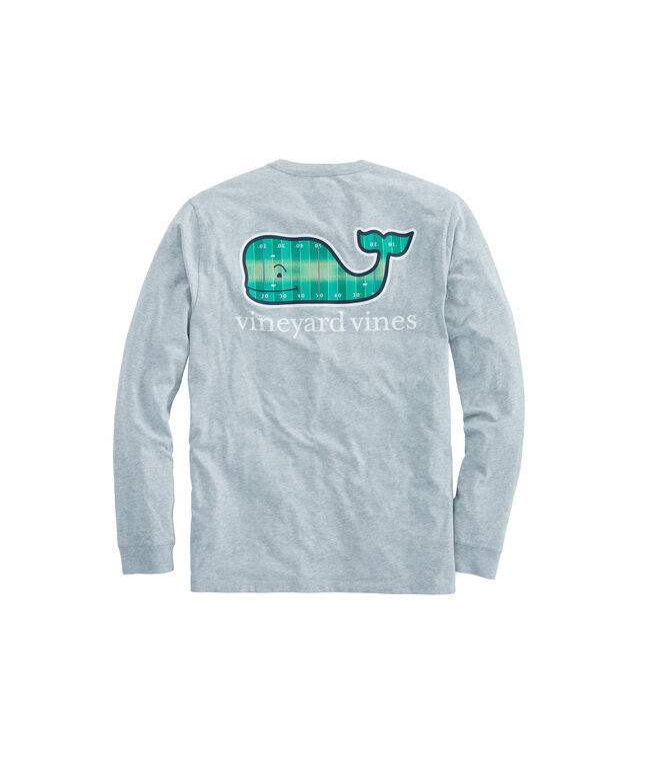 Long-Sleeve Football Field Whale Fill Pocket T-Shirt