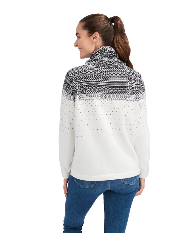 Fair Isle Sweater Fleece Funnel Neck Pullover