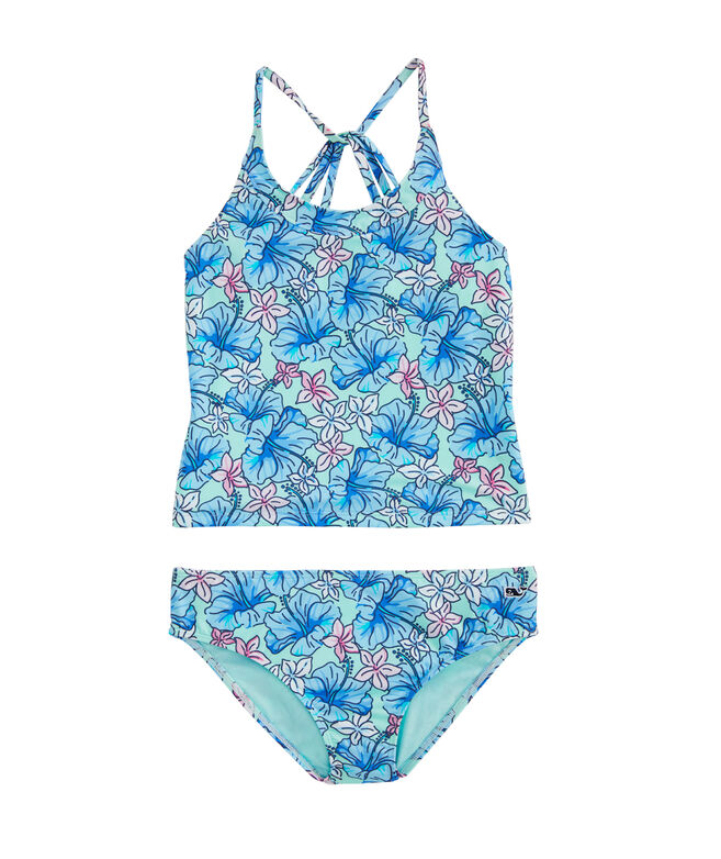Girls' Hibiscus Floral Print Tankini Bathing Suit