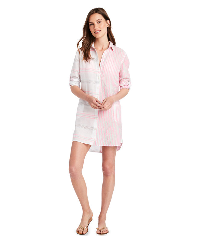 Baja Stripe Button Down Cover-Up