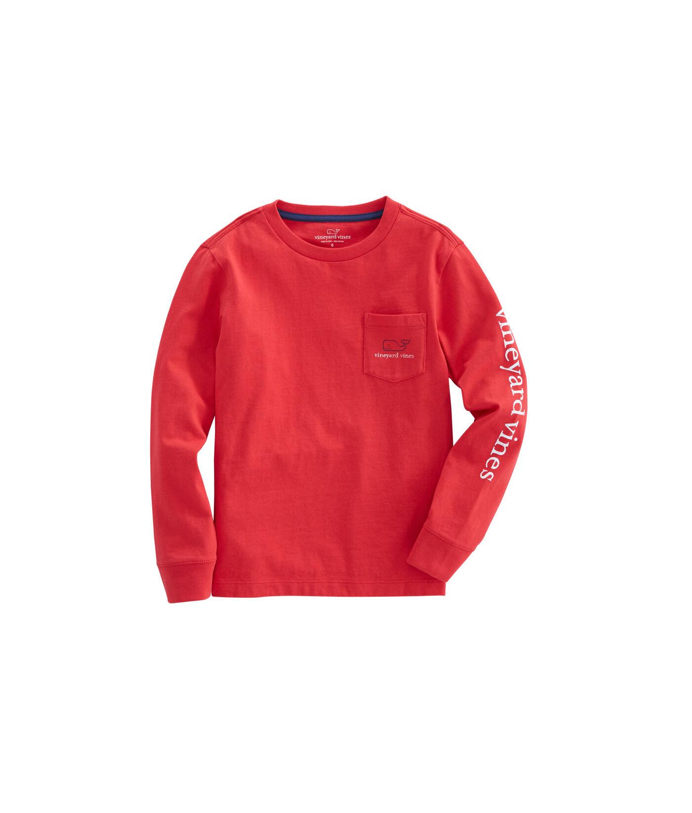 Vineyard Vines Boys Gray Heather Glow Vintage Whale Long Sleeve Pocket T-Shirt