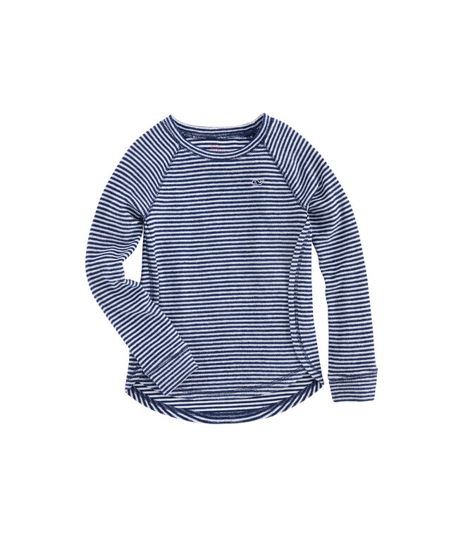 Girls Vineyard Stripe Terry Whale Shirt