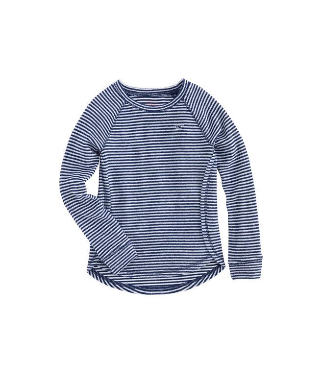 Girls Vineyard Stripe Terry Whale Shirt