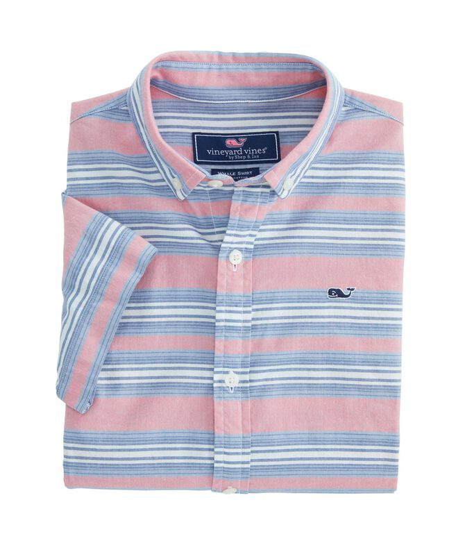 Boys Short-Sleeve Stripe Whale Shirt