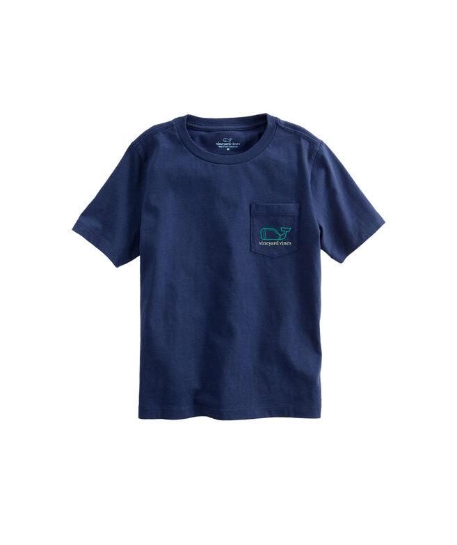 Boys Two Color Football Field Logo Box Pocket T-Shirt