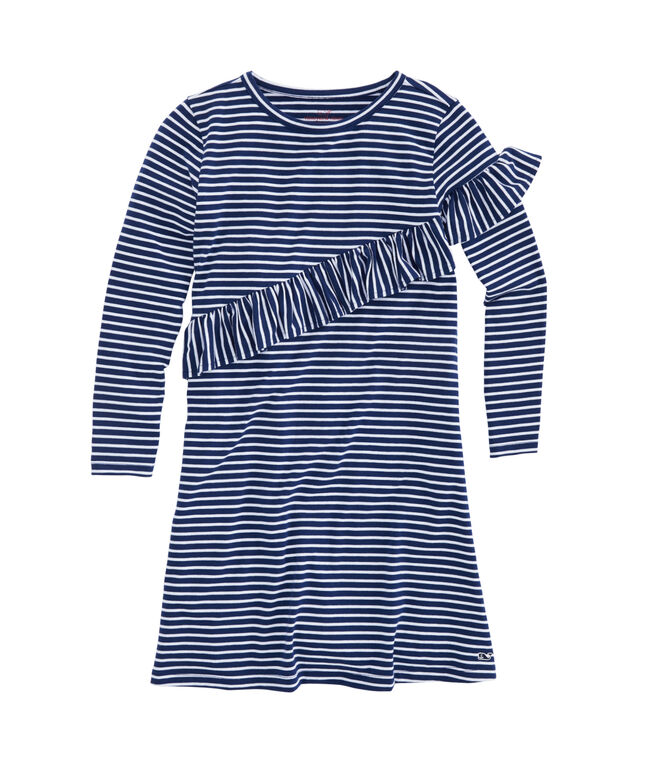Girls Coral Stripe Edgartown Ruffle Dress