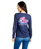 Long-Sleeve Skiing Whale Pocket Tee