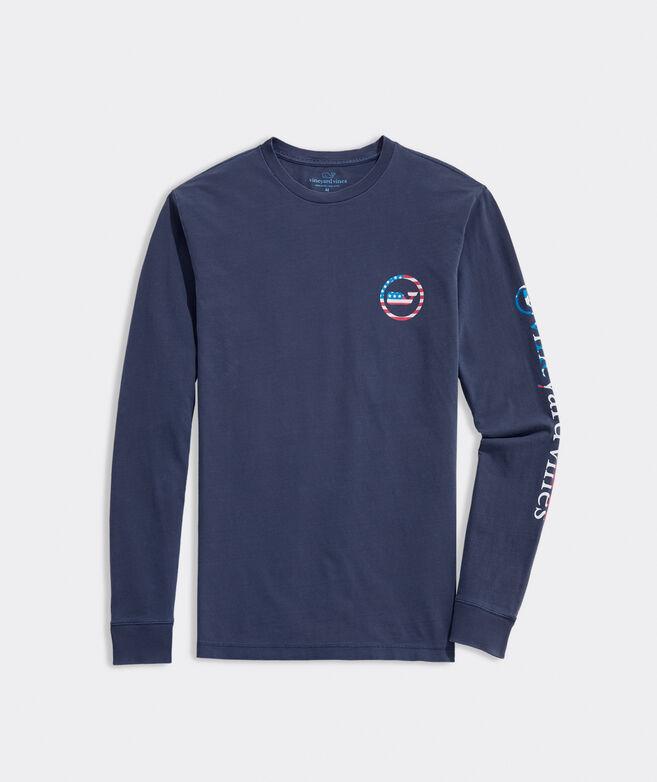 Garment-Dyed USA Whale Dot Long-Sleeve Tee