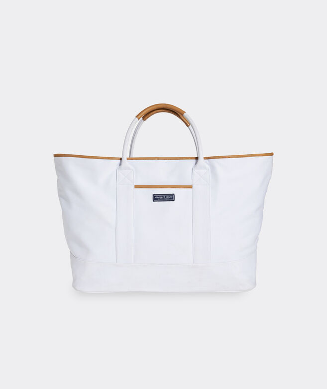 Leather Trim Oversized Tote Bag