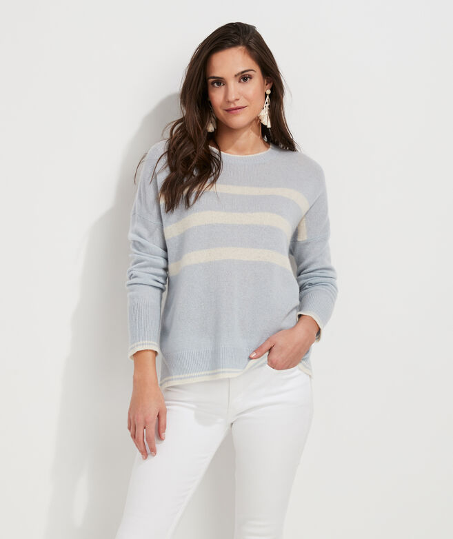 Striped Lofty Cashmere Crewneck Sweater