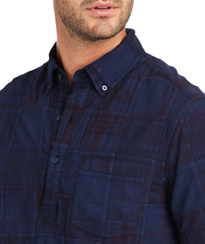 Slim Fit Patchwork Short-Sleeve Popover Shirt