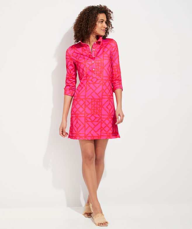 UPF Bamboo Lattice Margo Shirt Dress