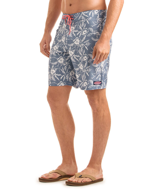 Aquatic Hibiscus Dot Board Shorts