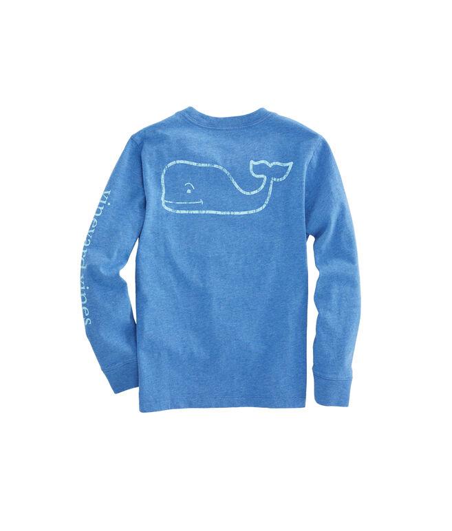 Boys Long-Sleeve Heathered Vintage Whale Pocket T-Shirt