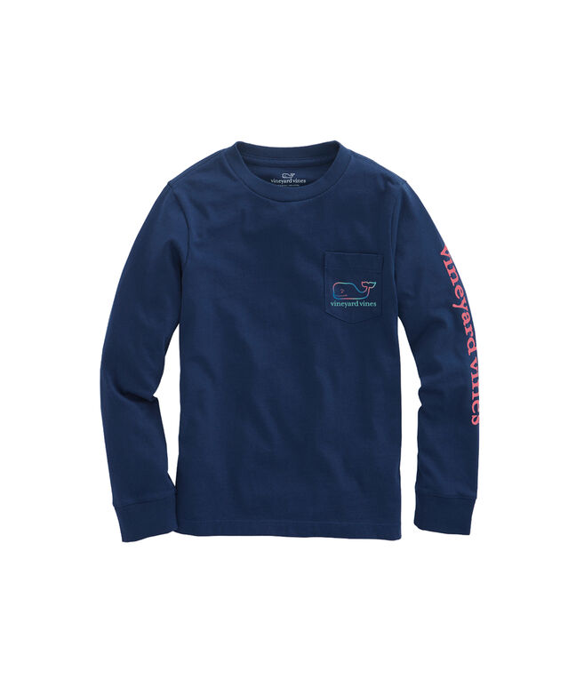 Boys Three Tone Ombre Whale Long-Sleeve Pocket T-Shirt