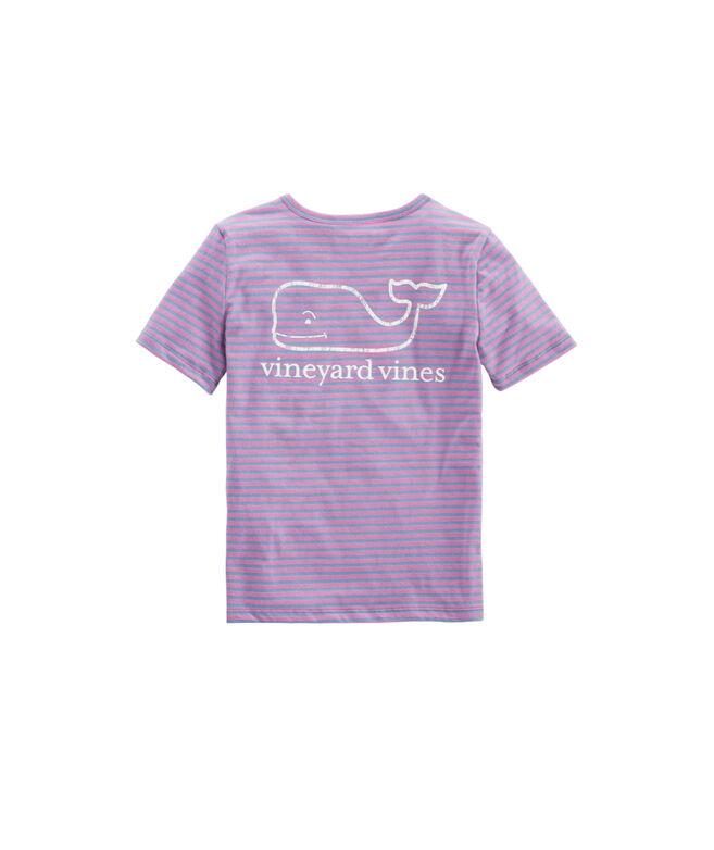 Girls' Beachcomber Stripe Vintage Whale Short-Sleeve Pocket Tee