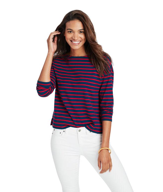 Long-Sleeve Stripe Boatneck Top