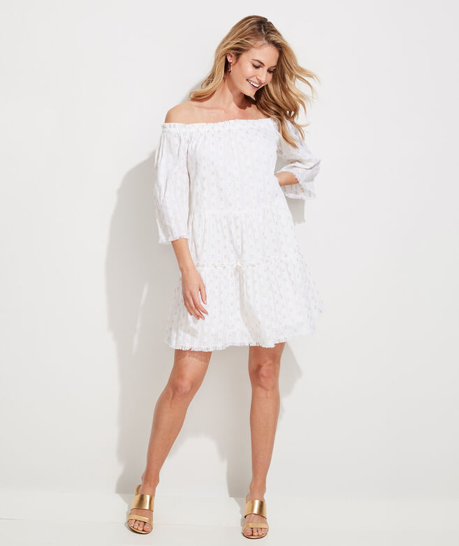 Lurex Dobby Off The Shoulder Tiered Dress