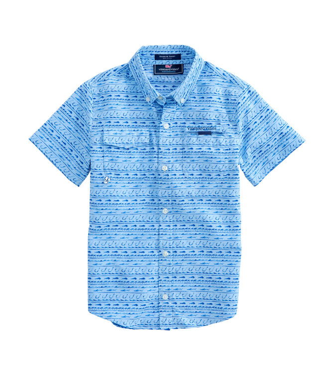 Boys Short-Sleeve Fish Hook Wave Harbor Shirt