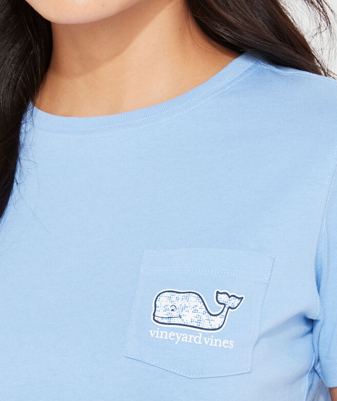 Kentucky Derby Floral Gingham Whale Short-Sleeve Pocket Tee