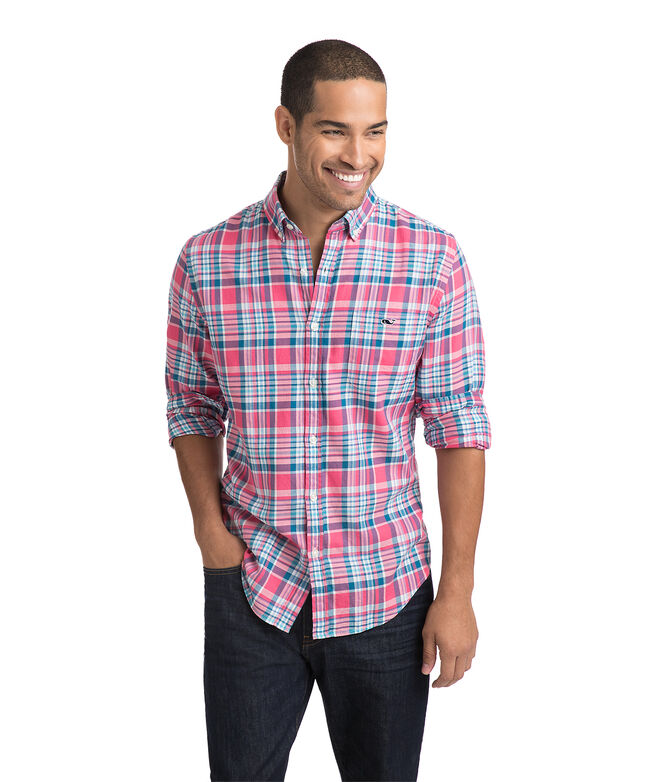 Middleton Place Plaid Performance Flannel Slim Tucker Shirt