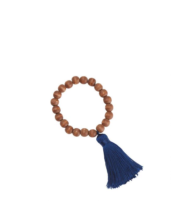 Wood Beaded Tassel Bracelet
