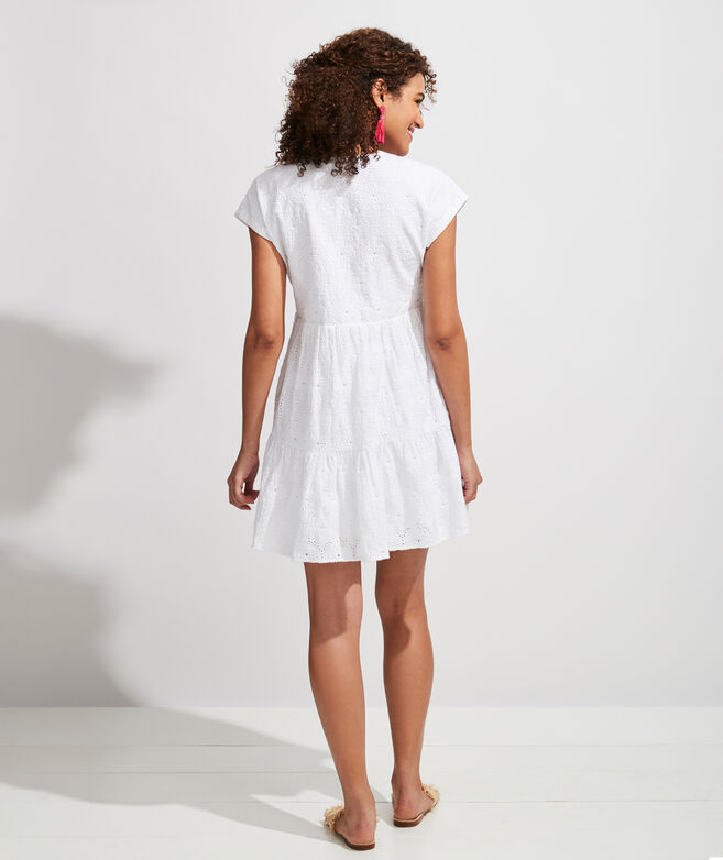 Island Eyelet Tiered Swing Dress