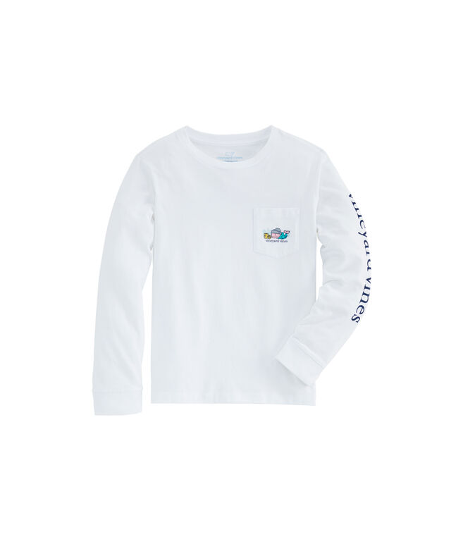 Kids Ski Waffle Whale Long-Sleeve Pocket Tee