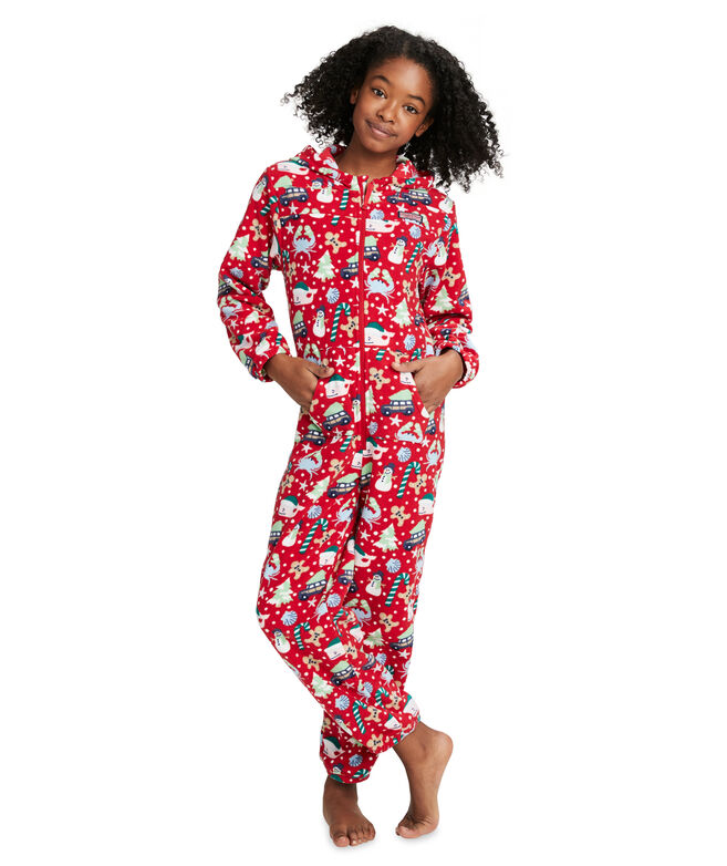 Kids Fleece Hooded One-Piece Pajamas