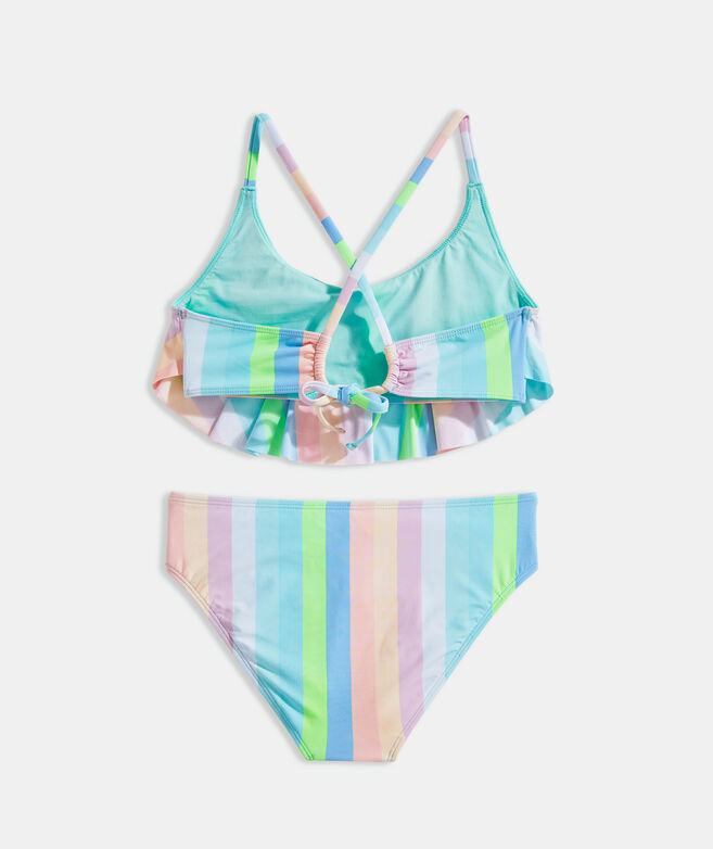 Girls' Stripe Flounce Bikini Set